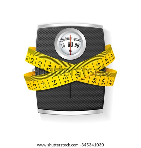 Black Bathroom Scale Concept of Health Care. illustration - stock photo