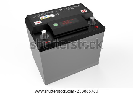 black battery car isolated on white background