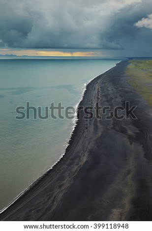 Black beach on the south part of Iceland - stock photo