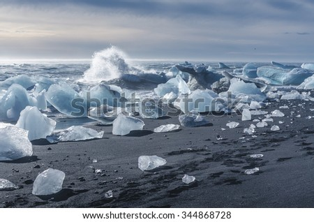 black beach with pieces of ice, Iceland