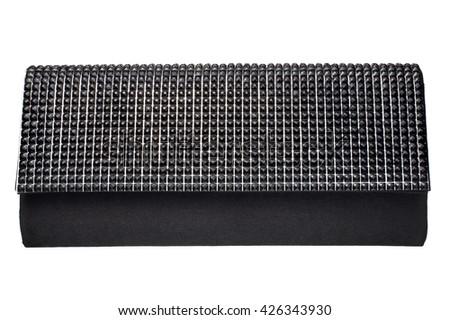 Black beaded clutch - stock photo
