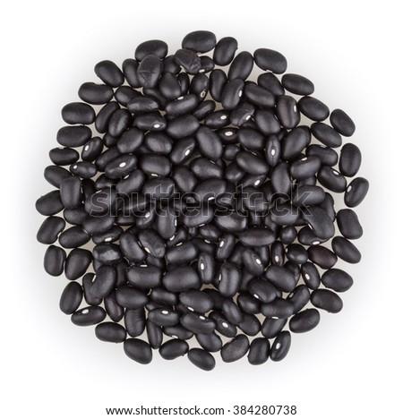 Black beans isolated on white background - stock photo