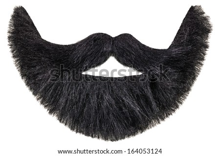 Black beard with curly mustache isolated on a white background - stock photo