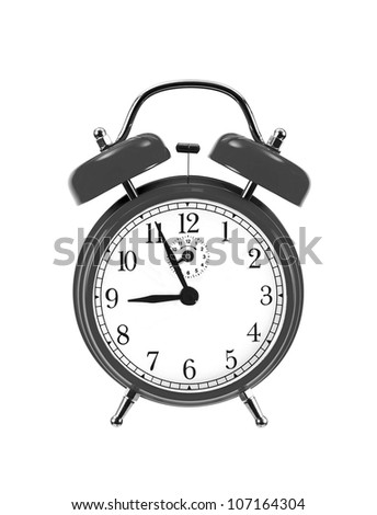 black bell clock (alarm clock) isolated on white background - stock photo