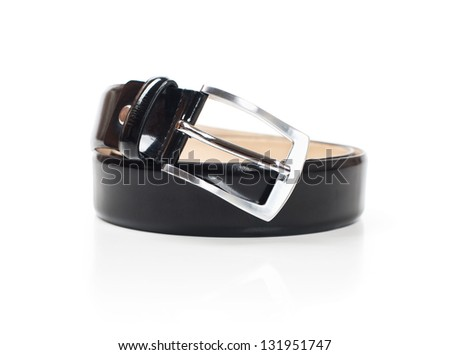 Black belt with reflection on a white background