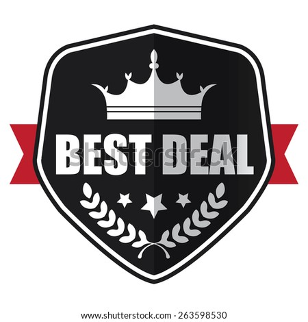 black best deal shield, ribbon, sticker, sign, stamp, icon, label isolated on white - stock photo