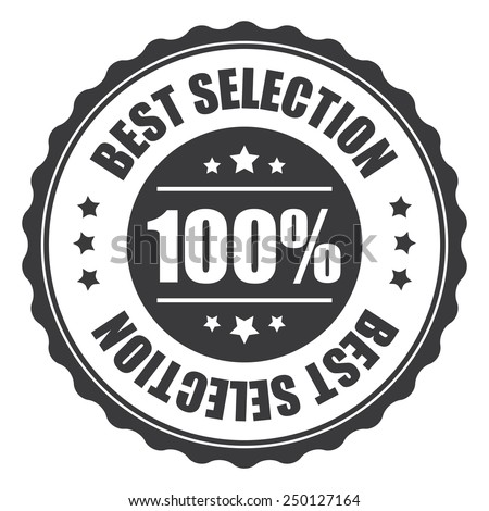 black 100% best selection icon, tag, label, badge, sign, sticker isolated on white  - stock photo