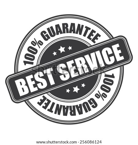 black best service 100% guarantee icon, tag, label, badge, sign, sticker isolated on white  - stock photo