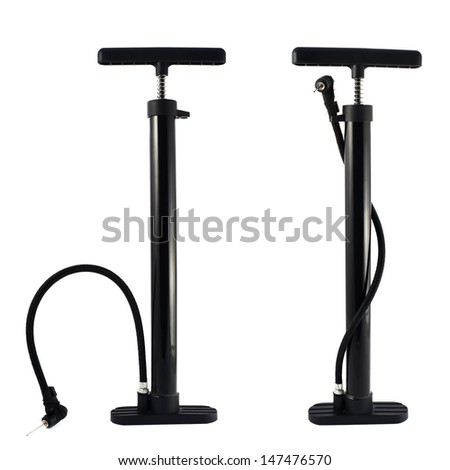 Black bicycle air pump isolated over white background, set of two foreshortenings - stock photo