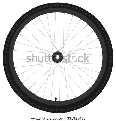 Black bicycle wheel raster isolated, bike wheel, bicycle tire