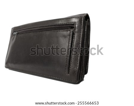 Black big old wallet isolated on white