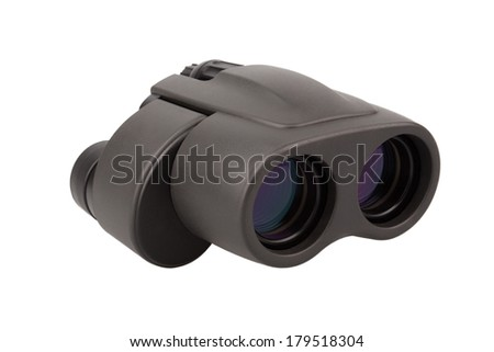 Black binocular, isolated on white background