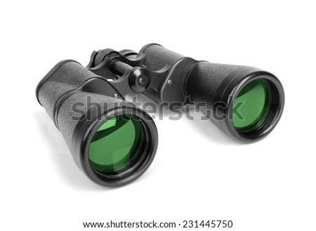 Black binoculars isolated on white. - stock photo