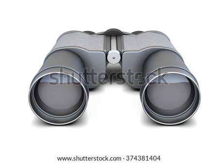 Black binoculars isolated on white background. 3d rendering.  - stock photo