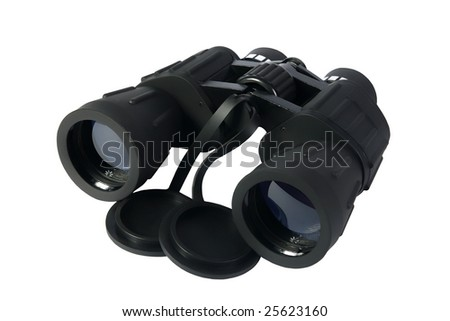 black Binoculars on a white background