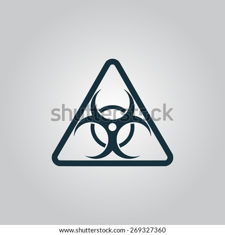 Black biohazard Flat web icon, sign or button isolated on grey background. Collection modern trend concept design style illustration symbol - stock photo