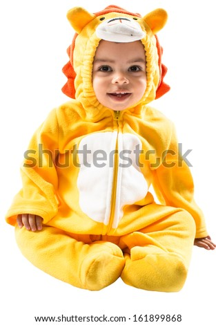 Black Black boy,dressed in lion carnival suit, isolated on white background. Baby zodiac - sign Leo. The concept of childhood and holiday - stock photo