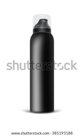 Black blank aluminum spray can isolated on white background. The black template bottle spray for design. With clipping path. - stock photo