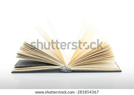 Black blank book,Open black book with shadow on white background