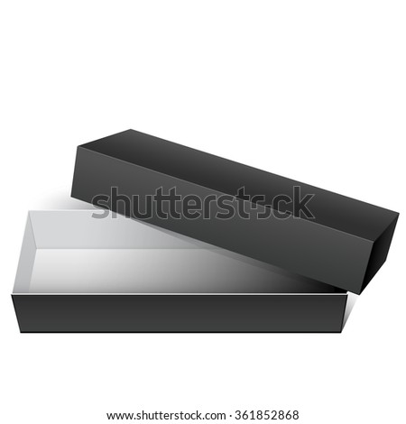 Black blank Cardboard Package Box Opened with the cover removed. For Gift, electronic device and other products.  - stock photo