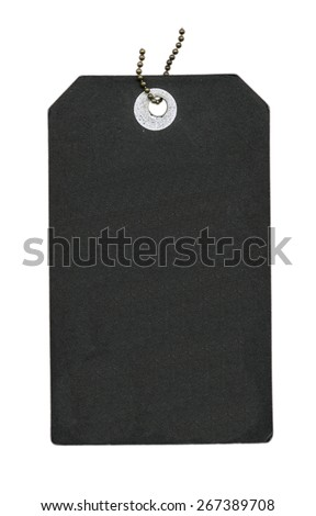 black  blank cardboard tag isolated on white  - stock photo