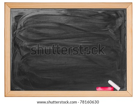 Black blank chalkboard with wood frame - stock photo