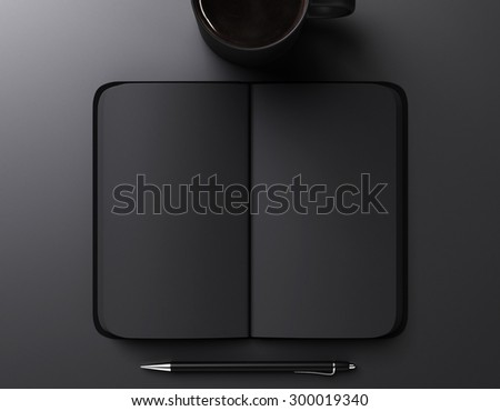 black blank notebook, pen and cup of coffee, mock up - stock photo