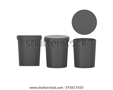 Black blank Tub Food Plastic Container packaging with clipping path, Plastic package mock up - stock photo