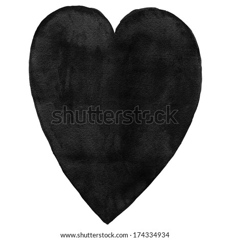 Black blank watercolor heart on white background. Aquarelle template backdrop created in handmade technique. Colored silhouette shape form isolated of square format size.  - stock photo