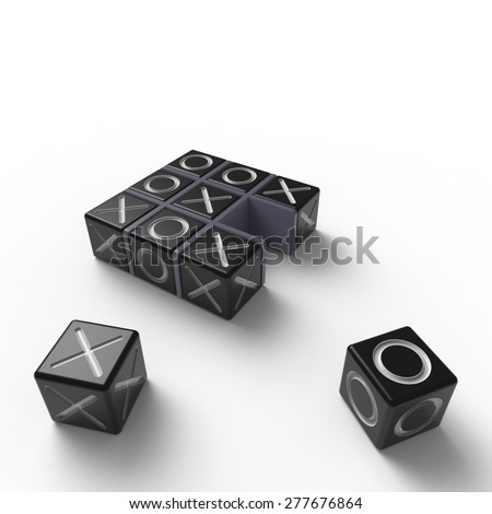 Black blocks with white noughts and crosses in a grey wooden frame on a white background - stock photo