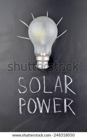Black board and Light Bulb - stock photo