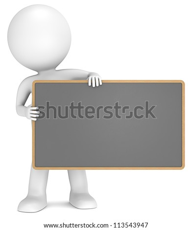 Black Board. 3D little human character The Messenger holding an empty Black Board. People series.