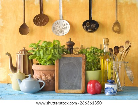 black board for cooking recipes, kitchen utensils, food ingredients, cooking concept - stock photo