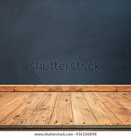 Black board walls and wood floor for text and background.Copy Space - stock photo