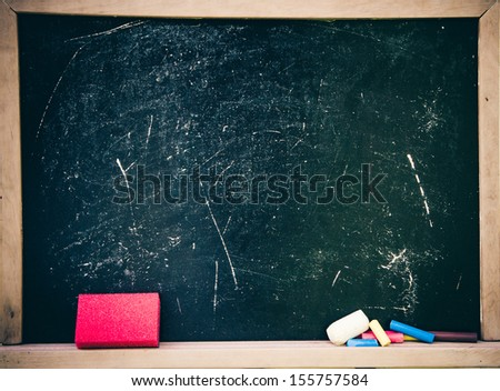Black board with chalk - stock photo