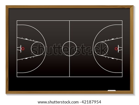 black board with outline of basketball court ideal for strategy