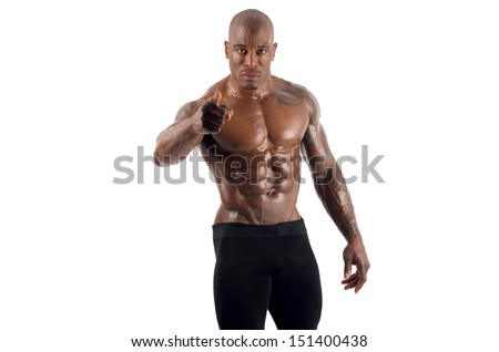 Black bodybuilder pointing to you and asking you to train harder. Trainer motivating people to train. Strong man with perfect abs, shoulders,biceps, triceps and chest. Isolated on white background - stock photo