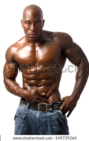 Black bodybuilder topless. Black bodybuilder wearing a vest. Strong man with perfect abs, pecs shoulders,biceps, triceps. Isolated on white background - stock photo