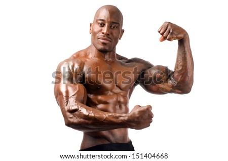 Black bodybuilder topless, showing his muscles. Strong man with perfect abs, shoulders,biceps, triceps and chest. Isolated on white background