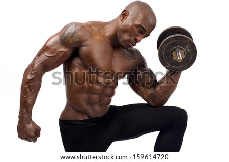 Black bodybuilder training with heavy dumbbell. Strong man with perfect abs, shoulders,biceps, triceps and chest. Isolated on white background - stock photo