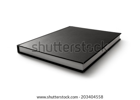 Black book. Closed book is laying on white. #2 - stock photo