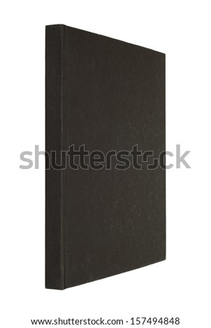 black book isolated on white, spine of book, fabric cover - stock photo