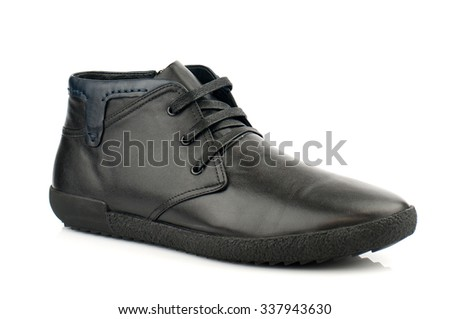 Black boot with shoelaces isolated on white.Top view.