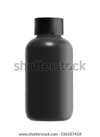 black bottle isolated on white background - stock photo