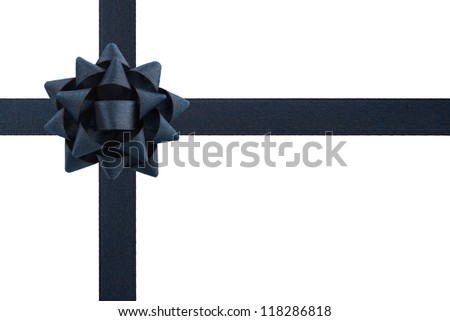 Black bow and ribbons isolated on white background - stock photo