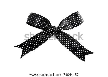 Black bow on white background - stock photo