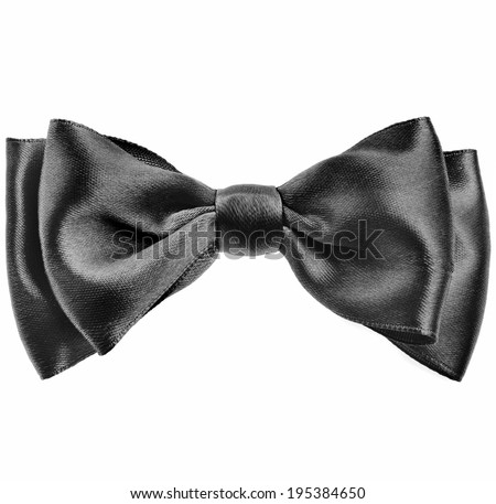 Black bow tie isolated on white background - stock photo
