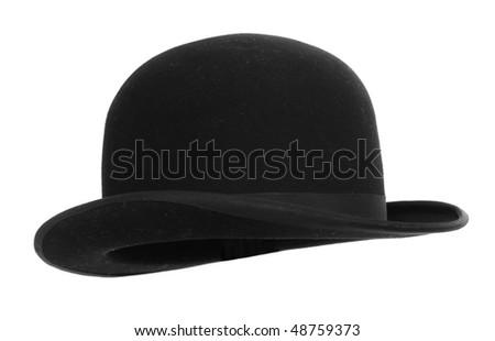 Black bowler hat against white background - stock photo