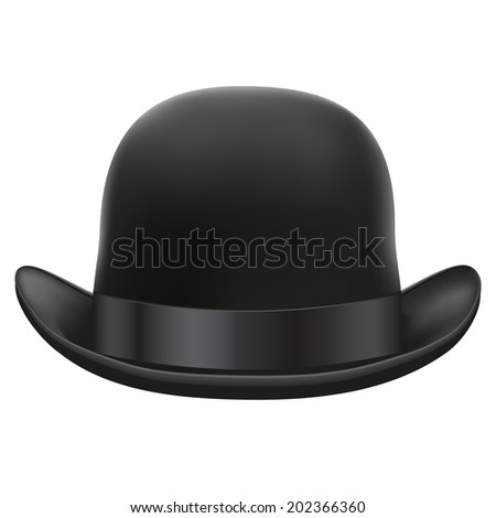 Black bowler hat with silk ribbon.  Isolated on white background. Bitmap copy.