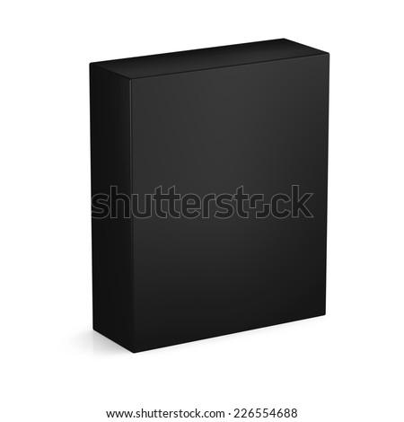 Black box isolated on white background - stock photo